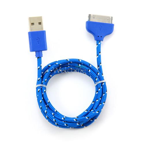 USB кабель для iPhone4,iPod,iPad 1.0м в оплетке синий