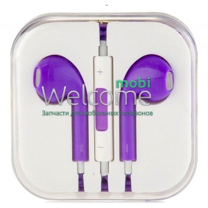 Наушники iPhone 5S violet (пульт+микрофон)