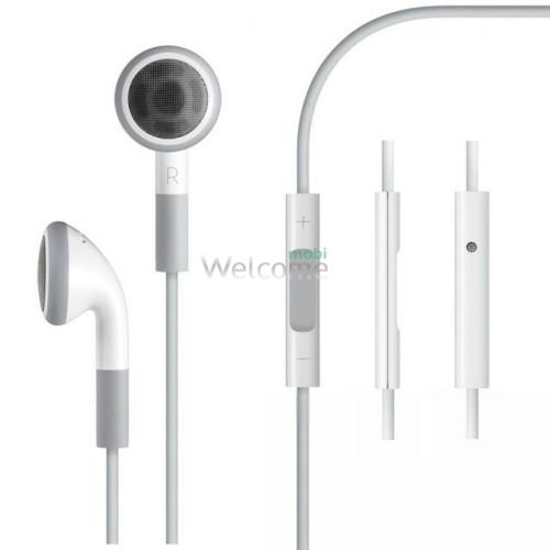 Наушники iPhone 4,4s,3g,3gs 3,5 orig white (пульт+микрофон)