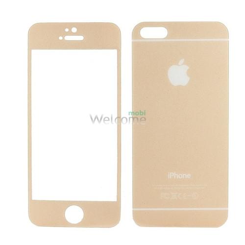 Стекло iPhone 5,5S (0.3 мм, 3D, ромбы,золото) комплект 2шт