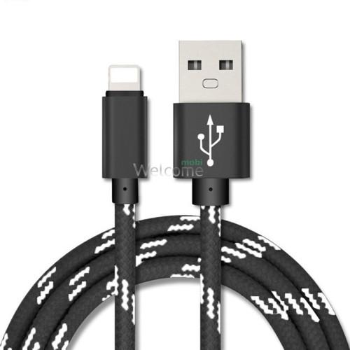 USB кабель для iPhone 5,6,6 Plus,6S,7,7 Plus 1.0м в оплетке упаковка серый
