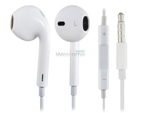 Наушники iPhone 5 orig white (пульт+микрофон)