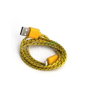 USB кабель для iPhone 5,6,6 Plus,6S,7,7 Plus 1.0м в оплетке без упак.желтый