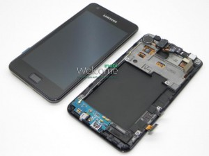 Дисплей Samsung I9105 Galaxy S2 Plus black with touchscreen with frame orig