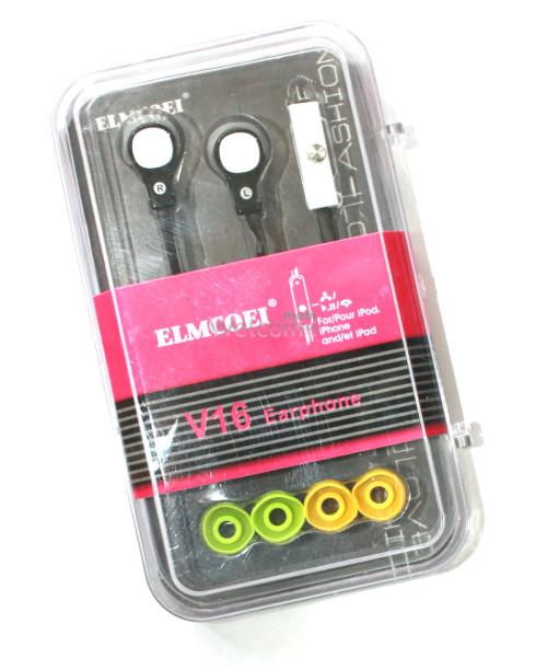 Наушники вакуумные Elmcoei V16 black+mic(для iPhone)