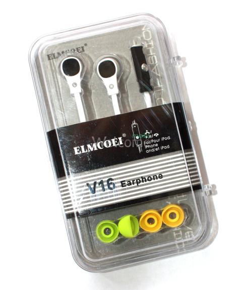 Наушники вакуумные Elmcoei V16 white+mic(для iPhone)