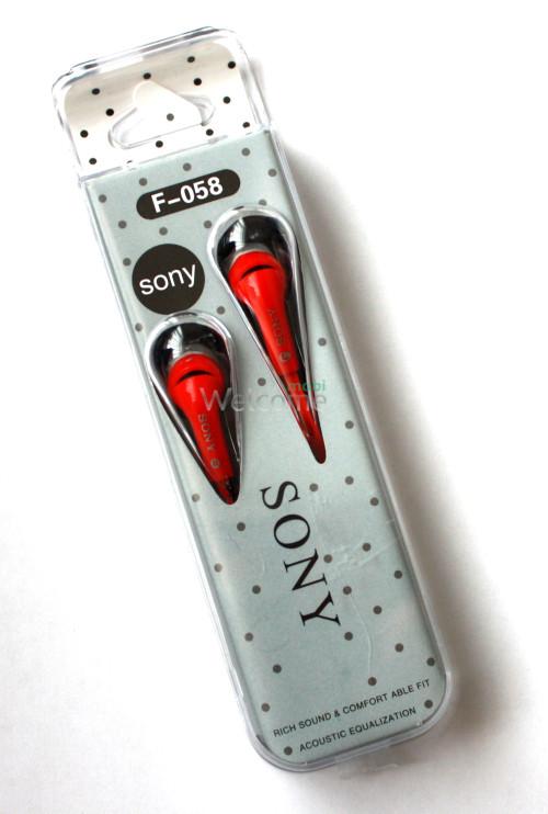 Наушники вакуумные Sony F-058 red