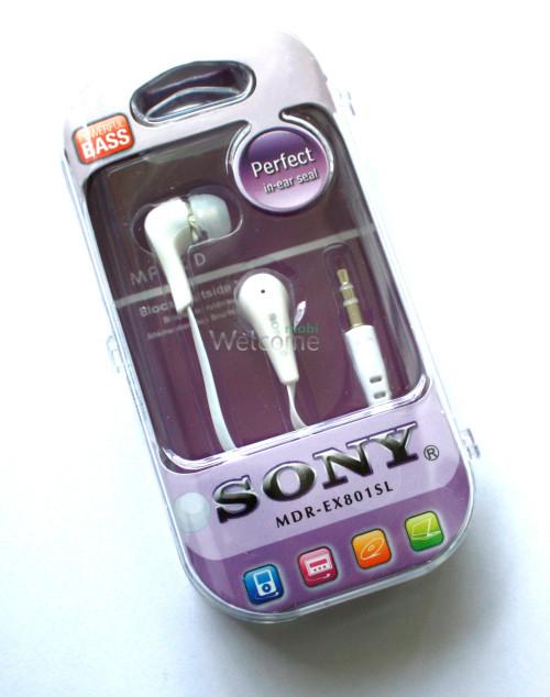 Наушники вакуумные Sony Perfect MDR-EX801SL white