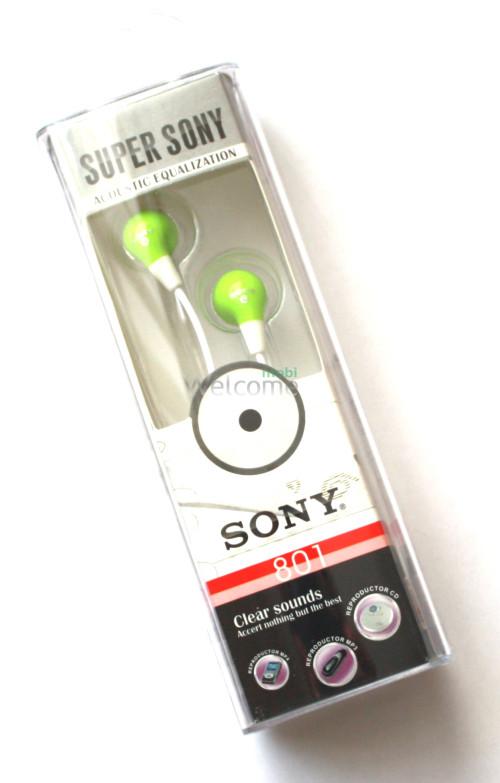 Наушники вакуумные Sony Super 801 green