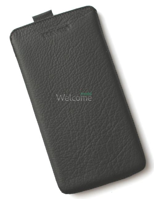 Чехол кожа  Mavis Classic Flotar Black HTC 803s One Max (85x170)