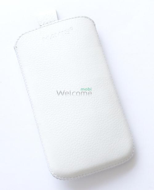 Чехол кожа  Mavis Classic Flotar White HTC C520e (72x130)