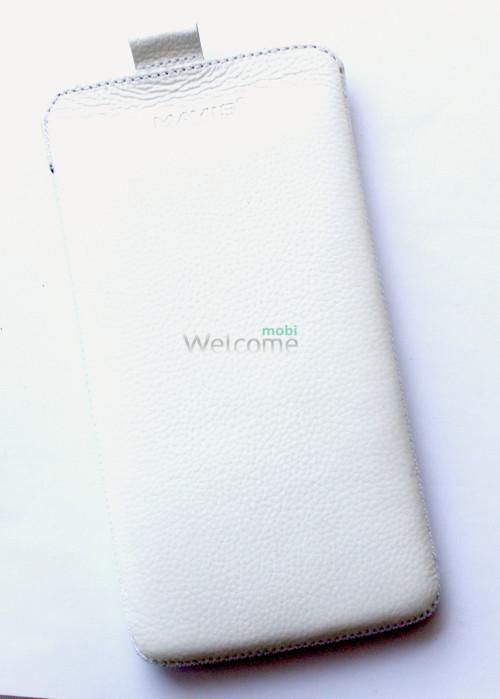 Чехол кожа  Mavis Classic Flotar White HTC 802w One Dual Sim (75x145)