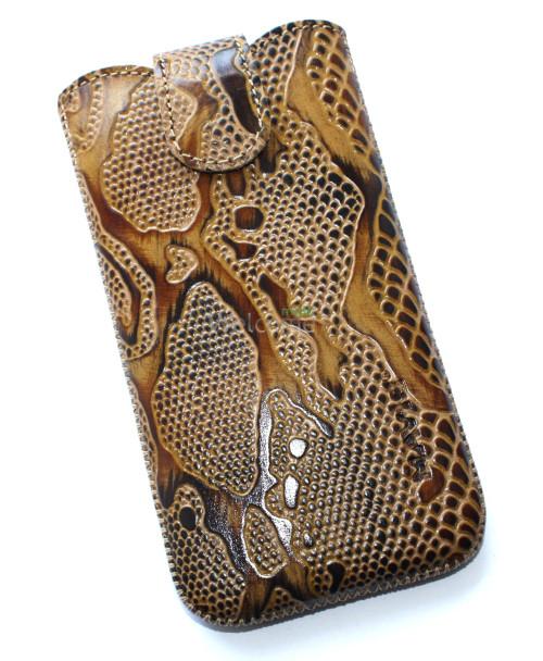 Чехол кожа Mavis Classic Python Brown 09 HTC 600,Lenovo A820 (75x140)
