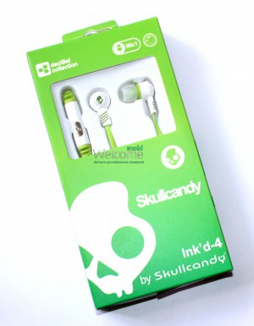 Наушники вакуумные Skullcandy Inkd4 white+mic (для iPhone)