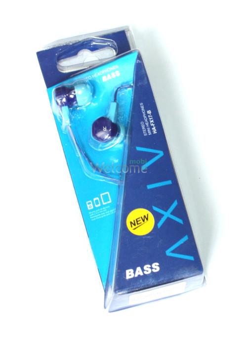 Наушники вакуумные AXIV HA-FX17-B blue,light blue