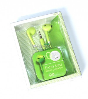 Наушники extra bass Q8 mp3 green