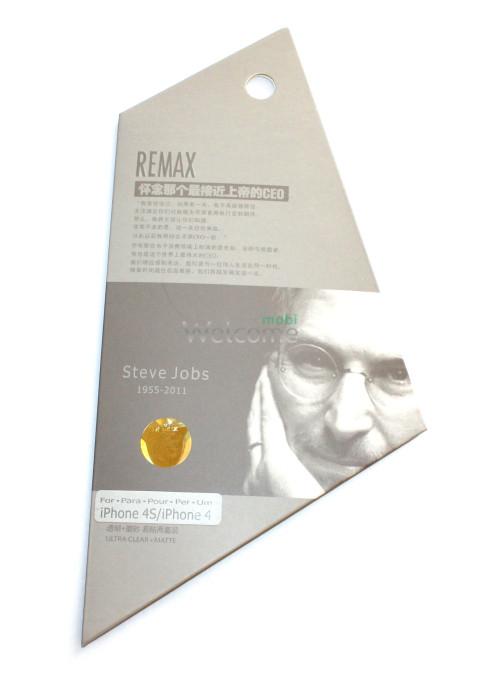 Защитная пленка iPhone4,4s Remax Steve Jobs комплект матовая + глянец