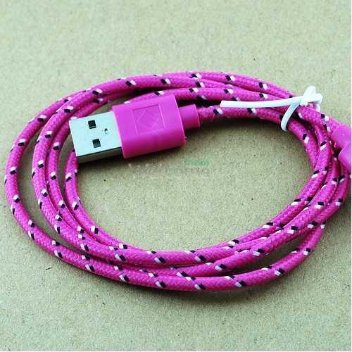 USB кабель для iPhone 5,6,6 Plus,6S,7,7 Plus 1.0м в оплетке упаковка малиновая