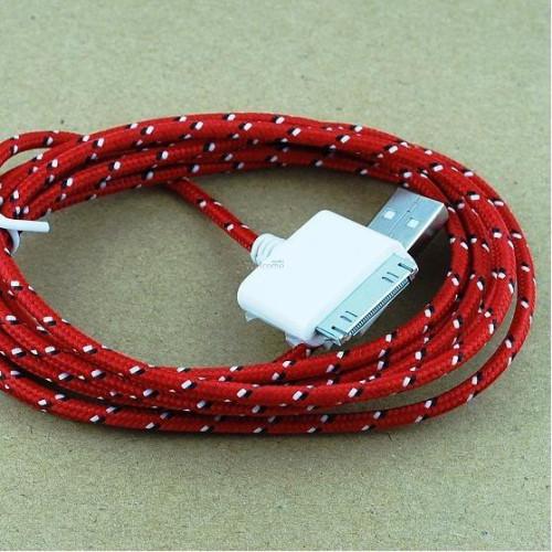 USB кабель для iPhone4 2.0м в оплетке упаковка красная