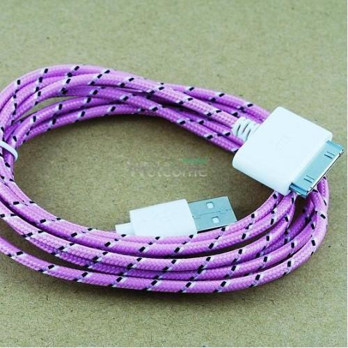 USB кабель для iPhone4 1.0м в оплетке упаковка фиолетовый