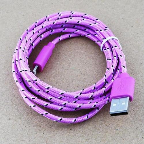 USB кабель для iPhone5 2.0м в оплетке упаковка розовая