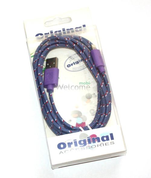 USB кабель для iPhone 5,6,6 Plus,6S,7,7 Plus 2.0м в оплетке упаковка черная