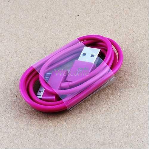 USB кабель для iPhone4,iPod,iPad 1.0м малиновый OEM