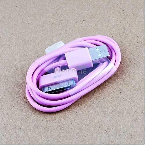 USB кабель для iPhone4,iPod,iPad 1.0м розовый OEM