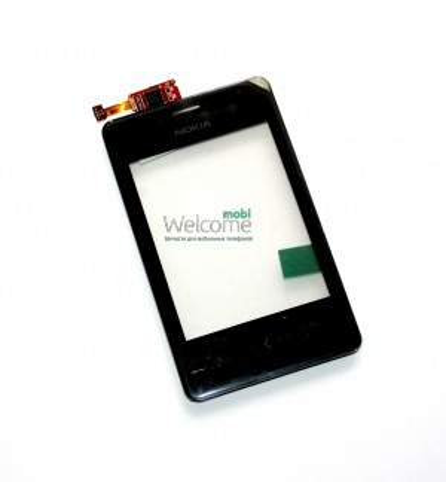 Сенсор Nokia 502 Asha Dual Sim black with frame high copy