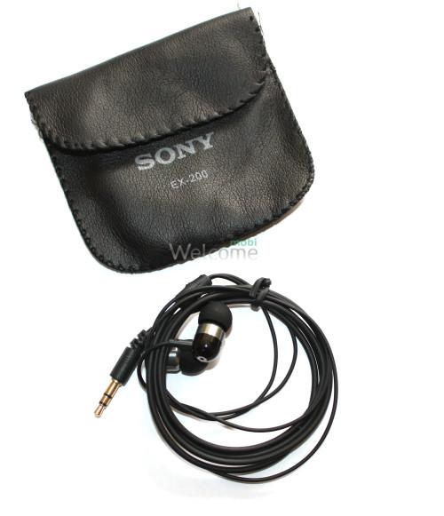 Наушники вакуумные метал Sony EX-200 black+чехол