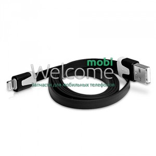 USB кабель для iPhone 5,6,6 Plus,6S,7,7 Plus плоский черный 1м