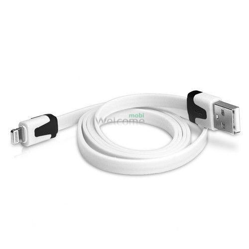 USB кабель для iPhone 5,6,6 Plus,6S,7,7 Plus плоский белый 1м