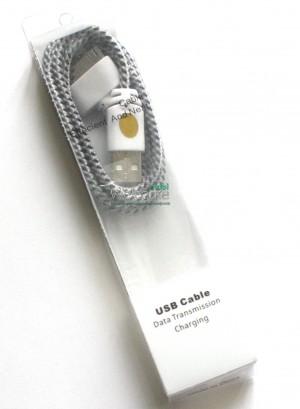 USB кабель для iPhone4,iPod,iPad 1.0м в оплетке без упаковки серый