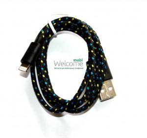 USB кабель для iPhone 5,6,6 Plus,6S,7,7 Plus 1.0м в оплетке черный