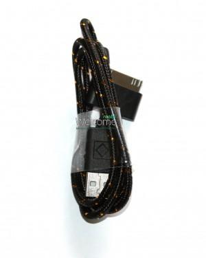 USB кабель для iPhone4,iPod,iPad 1.0м в оплетке черный