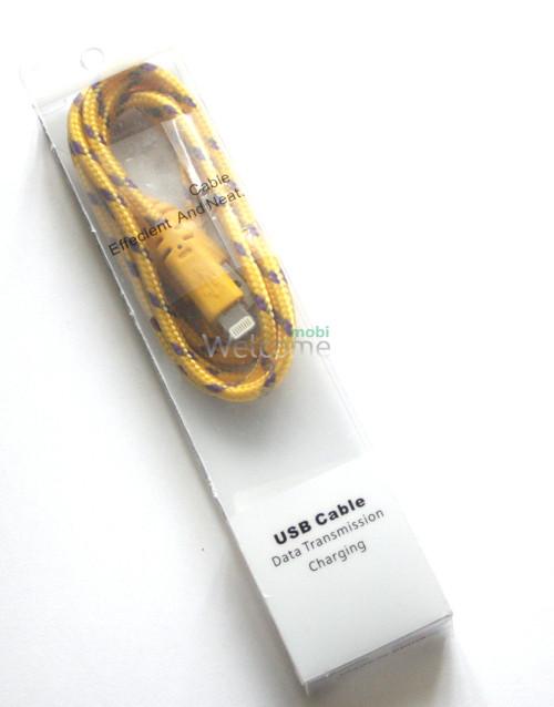 USB кабель для iPhone 5,6,6 Plus,6S,7,7 Plus 1.0м в оплетке упаковка желтый
