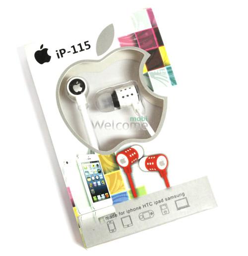 Наушники вакуумные iPod IP-115 white,red,black