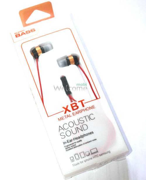 Наушники вакуумные XBT D9-M metal gold,black+mic