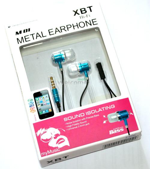 Наушники вакуумные XBT M01 metal blue+mic