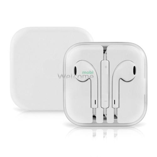Наушники iPhone 5S white (пульт+микрофон)