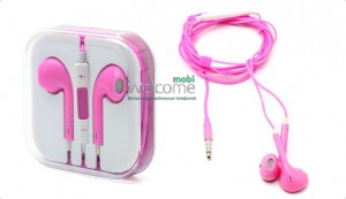 Наушники iPhone 5S pink (пульт+микрофон)
