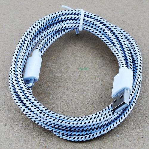 USB кабель для iPhone 5,6,6 Plus,6S,7,7 Plus 2.0м в оплетке упаковка белая