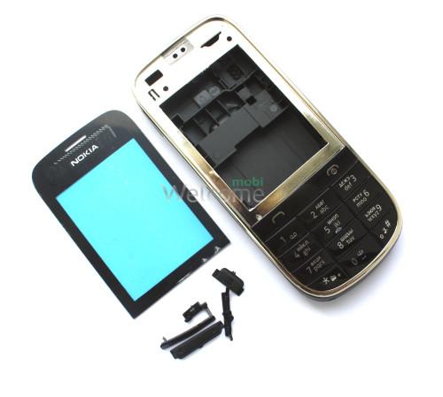 Корпус Nokia 202 Asha black high copy повний комплект