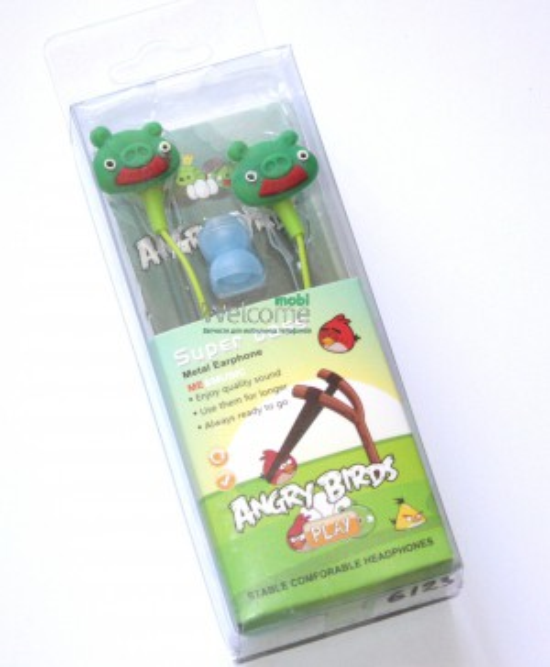 Наушники вакуумные AngriBirds EM-405 green