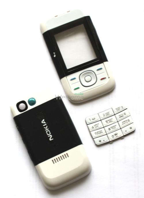 Корпус Nokia 5200 black/ white high copy повний комплект + кнопки