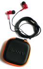 Наушники вакуумные метал Sony EX-131 red+mic+чехол (гарнитура)