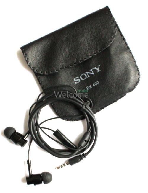 Наушники вакуумные метал Sony EX-400 +mic black +чехол