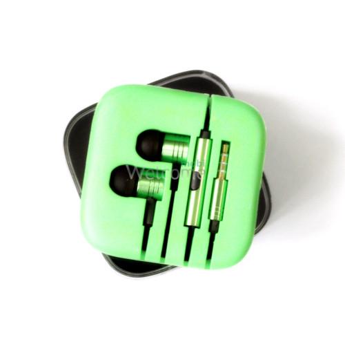 Наушники вакуумные метал Xiaomi MI ORIGINAL green+mic (гарнитура)