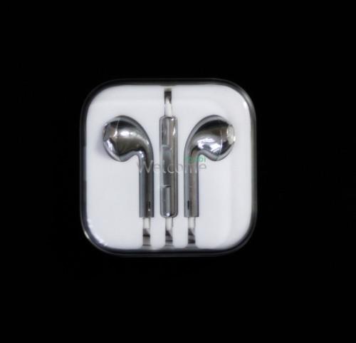 Наушники iPhone 5S silver (пульт+микрофон)