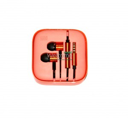 Наушники вакуумные метал Xiaomi MI ORIGINAL orange+mic (гарнитура)